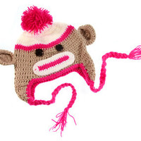 Hot Pink & Beige Sock Monkey Crochet Beanie - Last one in stock!