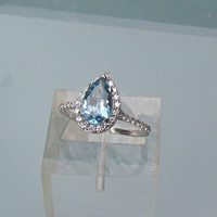Aquamarine Engagement Ring in 14k Gold Diamond Pear Shape Halo March  Birthstone Gemstone Jewelry