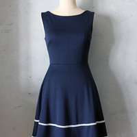 COQUETTE in NAVY - Navy blue dress with pockets // flared circle skirt // ivory crochet // bridesmaid dress // vintage inspired