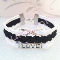Love Symbol Bracelet,Infinity Bracelet.White Wax Cords and Black Braid bracelet.