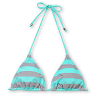 Empyre Girls Madison Turquoise Striped Triangle Bikini Top