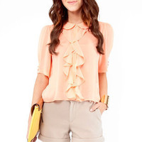 Pan Ruffle Blouse in Peach :: tobi