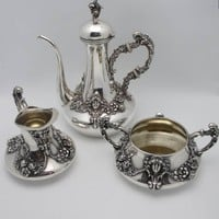 Art Nouveau Kerr Repousse Sterling Coffee Sugar & Cream Set