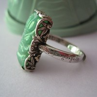 Chinese Art Deco Green Jadeite Jade Sterling Ring