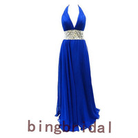 High quality Halter chiffon satin bridesmaid Prom Evening Homecoming Dress