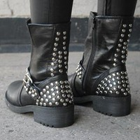 Womens NEW Black Studded Biker Boots from revolva