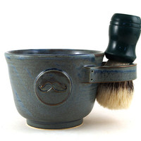 Shaving Mug, Shaving Bowl with a Mustache, Shave Mug, Blue Shave Cup,  Great Gift for Men by MiriHardyPottery