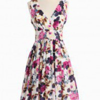 Regal Tones Floral Dress | Modern Vintage New Arrivals