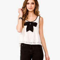 Contrast Bow Lace Tank | FOREVER21 - 2000048408