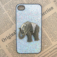 Steampunk Elephant Silver bling glitter hard case For Apple iPhone 4 case iPhone 4s case cover
