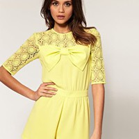 ASOS | ASOS Lace Bow Playsuit at ASOS