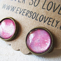 cotton candy summer pink sparkle earrings by eversolovely