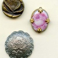 Rose flower buttons antique and vintage metal buttons