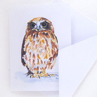 Owl Watercolor Painting Note Card Set by SusanWindsor on Etsy