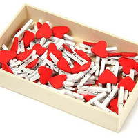 Cute Wood Clothes-Pin clip - Red Heart - Wedding Party Favor - 48 pieces