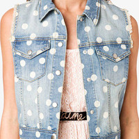 Polka Dot Denim Vest | FOREVER 21 - 2027704424