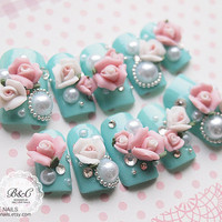 Princess Style Fake Nail Set   My Lovely Rose by bclovenails