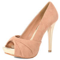 Nude twist front peep shoes - Heels - Shoes - Dorothy Perkins