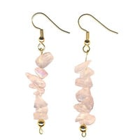 Rose Quartz Crystal Earrings With Gold, Natural Feminine Soft Pale Pink