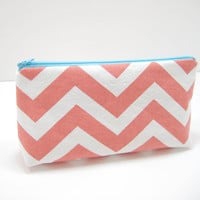 Coral Aqua Cosmetic Bag, Coral Chevron Zippered Pouch, Cosmetics Pouch Coral Chevron, Coral and Aqua Chevron, Ready to Ship