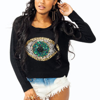 graphic-embellished-eye-sweater BLACK CREAM MINT - GoJane.com