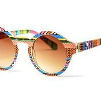 80&#x27;s - Aztec Printed Rounded Wayfarer Sunglasses (Multi)