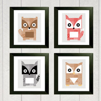 Woodland Nursery Art Print Set  Beaver Fox by DeliveredByDanielle