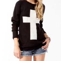 Contrast Cross Longline Sweater | FOREVER 21 - 2019571647