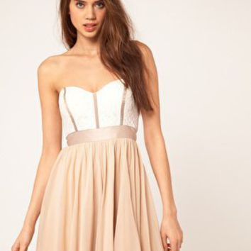 ASOS Skater Dress With Lace Bustier at ASOS