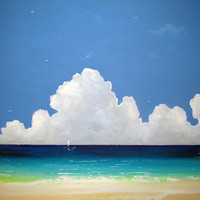 Deserted Beach Original Painting  Free Shipping  by Borettoart
