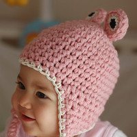 Pink Frog Hat Newborn and 03M by beliz82 on Etsy
