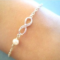Simple, Cute, Infinity Pearl, Gold or Silver, Bracelet