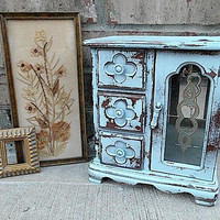 Upcycled French Sky Blue Vintage Wooden