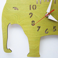 The Big Lime Green Elephant designer wall mounted clock