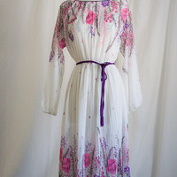 Vintage Pleated Floral Print Dress - Cord Rope Belt , Screen Print Pattern - SM MED