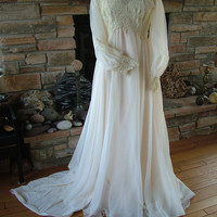 Wedding dress victorian inspired 1970s lavish lace and beading bridal gown vintage boho steampunk chic