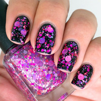 Nail polish  Super Vixen purple and pink glitter by EmilydeMolly
