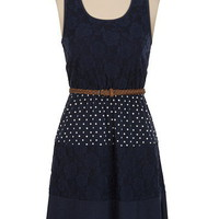 Belted Lace and Polka Dot Tank Dress