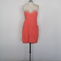 Beaded Sweetheart Coral Short Prom Dress/Bridesmaid Dress