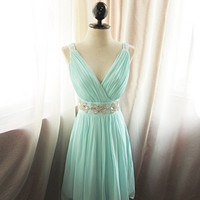 Glamorous Seafoam Blue Prom dress