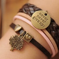 Wishing tree,retro bronze personality   wish tree,alloy bracelet,brown leather,pink rope braid bracelet---B014
