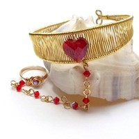 Gold Slave Bracelet Ring Attached Handmade Cuff with Red Crystal Heart