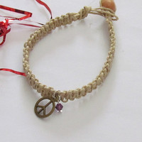 HEMP BRACELET - Charm and Swarovski Birthstone - Best Friends Gift