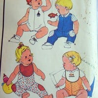 McCalls Pattern 4496 Baby Overalls, Shirt, Reversible Bib, 3 months