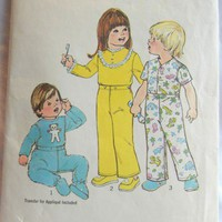 Simplicity Pattern 7067 Toddler Pajamas with Applique, Size 1, 1975