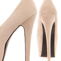 Lyla Nude Super High Extreme Platform Peeptoe Heels
