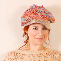 Blue pink hat Summer hat woman Blue floral hat Pastel hat woman Woman knit hat Woman crochet hat Chunky hat Crochet newsboy hat