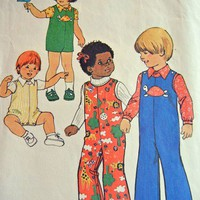 Simplicity Pattern 7322 Toddler Jumpsuit and Shirt, Size One Half 1975