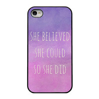 Iphone 4 case  quote Iphone case  she believed by RetroLoveCases