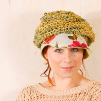 Green woman hat Summer hat woman Crochet hat green Pastel hat woman Knit hat woman Crochet hat Woman Crochet newsboy hat